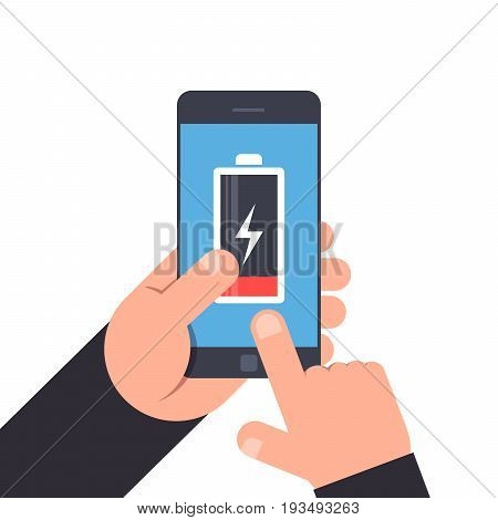 Hand holding and pointing to a smartphone. Low battery life of mobile phone. Battery icon on blue background smartphone. Premium quality vector illustration in flat style isolated on white background