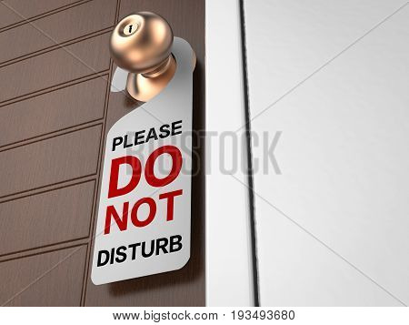 3d rendering do not disturb sign hanging on door