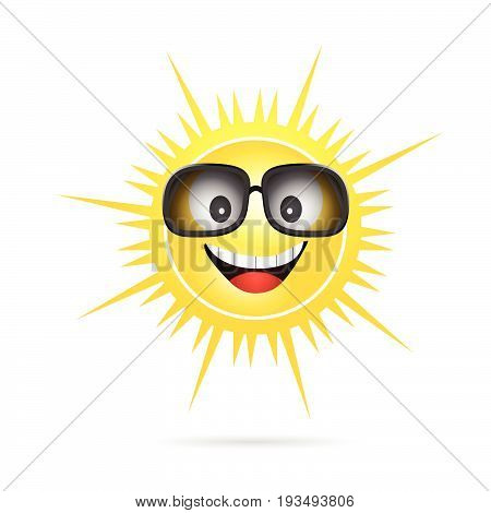 Sun Happy With Sunglasses Illustration