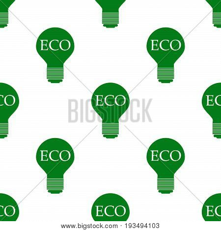 Eco lamp idea organic bio product eco friendly badge vegan ecology seamless pattern. Vector green nature design and ecology logotype template environment plant energy background.