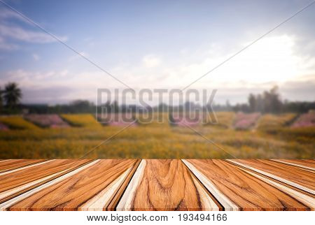Selected focus empty wooden table and view of many flower blur background with bokeh image. for your photomontage or product display.