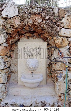 Jerusalem Israel. - February 15.2017. Greek monastery of the Ascension on the Mount of Olives. Washbasin in the form of a lion's head