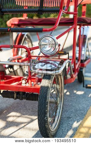 Close up of rickshaw detail . This vehicle is common in the seaside resorts.