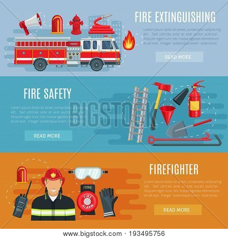 Fire extinguishing or firefighting vector banners set of fire engine truck with ladder, extinguisher spade and hydrant hose, hammer and scoop, siren alarm and firefighter in safety protective uniform