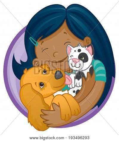 Vector cartoon of a happy hispanic or indian girl holding cute puppy and kitten
