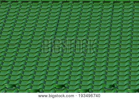 Green roofing of roof tiles on the roof of a residential building