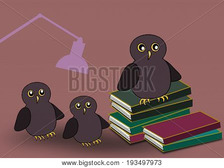 Three owls and some stacks of books, and a lamp in the background.