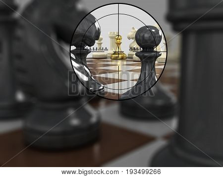 The chessboard with figures of gold pawn in the center of the optical sight. On a gray background.