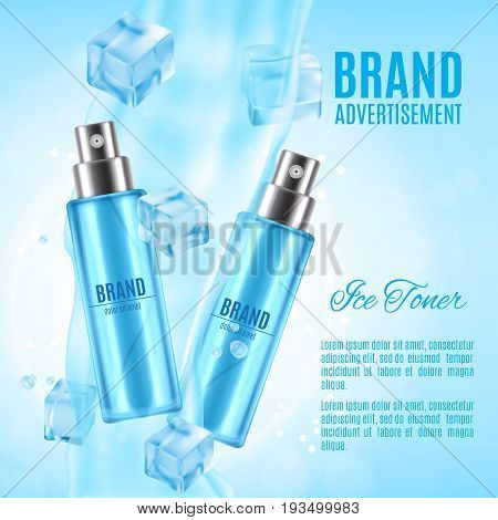Ice toner ads. Realistic cosmetic spray bottle with ice cubes and water splash on a blue background. Design for ads or magazine. 3d illustration. EPS10 vector