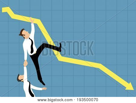 Falling down business graph and business people.
