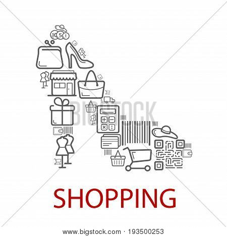 Shopping poster of woman high heel shoe combined of vector retail and sale or shop purchase icons of dress mannequin, shopping cart or bag and bar code, money coins in wallet or credit card and cash