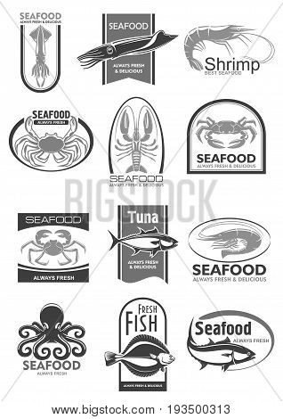 Seafood products icons set fro sea food or fish market an shop. Vector isolated symbols of tuna, crab or lobster and octopus or flounder, fresh fisherman catch of shrimp prawn, salmon or squid