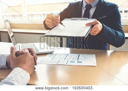 Job application interview Executive manager filling up the application form to applicant register Hiring concept.