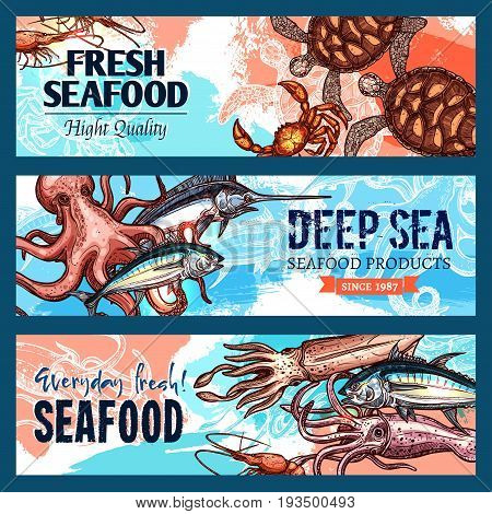 Seafood banners set of fresh fish and sea food catch of octopus, squid or shrimp and prawn, turtle, tuna or marlin and salmon. Vector design for seafood market or gourmet fish restaurant