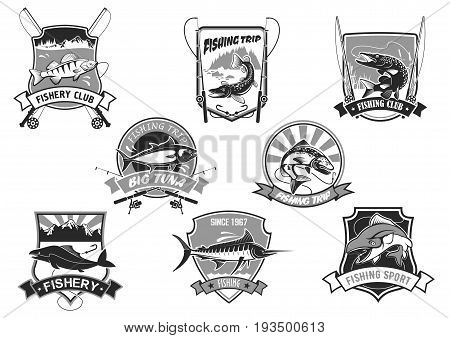 Fishing club or fishery trip icons set. Vector isolated symbols of big fish catch river perch and sea tuna or ocean marlin on hook, fishing rod and fisherman pike tackle, salmon or carp and mackerel
