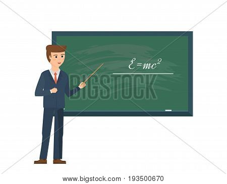 Modern teaching and education system. Teacher, professor standing in front of blank school blackboard in classroom. School male teacher near blackboard. Vector illustration, people in cartoon style.