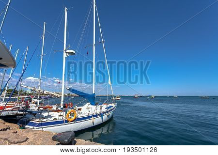 Marine dock port and sailing yachts on the dock. Crimea Yalta.