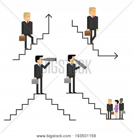 Businessman on the career ladder up and down the corporate ladder