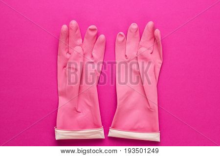 Pink Rubber Cleaning Gloves
