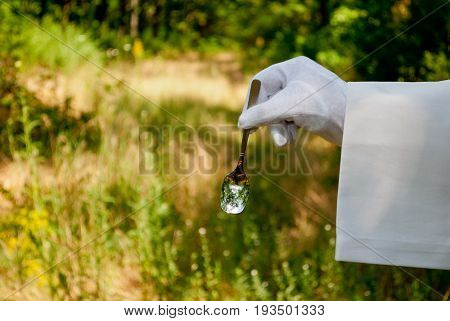 The waiter's hand in a white glove and with a white napkin holds a small tea spoon made of silver metal on a blurred background of nature green bushes and trees