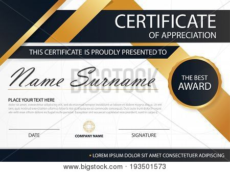 Gold and black Elegance horizontal certificate with Vector illustration white frame certificate template with clean and modern pattern presentation