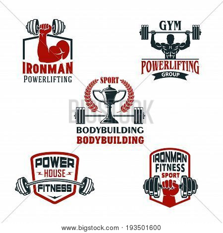 Gym or bodybuilding and powerlifting sport club icons set. Vector isolated badges of muscleman biceps with dumbbell weight, barbell power in hands, ribbons, stars and bodybuilder winner cup prize
