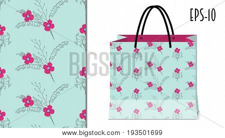 Seamless floral pattern with doodle flowers for holiday pack paper birthday packing gift print textile fabric clothes. Mock-up paper bag. eps 10.