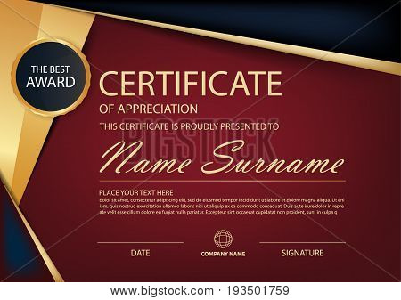 Red and black label Elegance horizontal certificate with Vector illustration white frame certificate template with clean and modern pattern presentation
