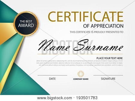 Green and gold Elegance horizontal certificate with Vector illustration white frame certificate template with clean and modern pattern presentation