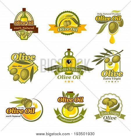 Olive oil labels of green and black olives and olive oil drops for extra virgin natural organic cooking oil product packaging templates for bottles or jars. Vector isolated icons set