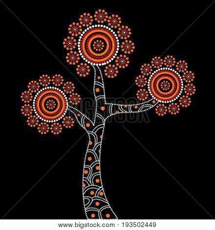 Aboriginal Tree Illustration. Illustration based on aboriginal style of dot tree.