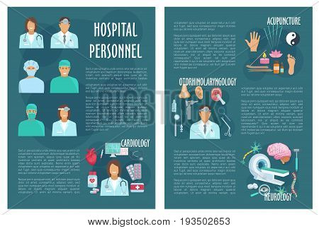 Medical brochure of hospital doctors and healthcare departments of cardiology, neurology or otolaryngology and acupuncture medicine. Vector heart pills, stethoscope or otoscope, syringe or mri scanner