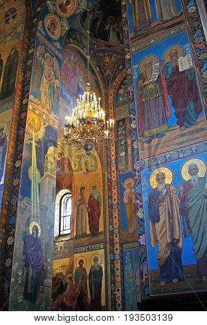 Saint Petersburg Russia -14 July 2016: Mosaics in the interior of the Church of the Savior on Spilled Blood. Church contains over 7500 square meters of mosaics. Church was built on the site where Emperor Alexander II was fatally wounded in March 1881.
