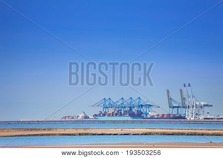 Container terminal of Le Havre dock with cargo containership and portal cranes, Normandy, France