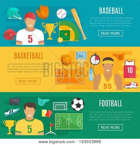 Football, basketball and baseball sport game flat banners. Vector gaming items ball and bat, goal gates or soccer field, player boots, shirt and gloves, champion golden cup prize and referee whistle