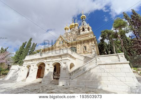 Jerusalem Israel. - February 15.2017. Church of St. Mary Magdalene. It was built by the Imperial Orthodox Palestine Society on the means of the Imperial Family in memory of Empress Maria Alexandrovna