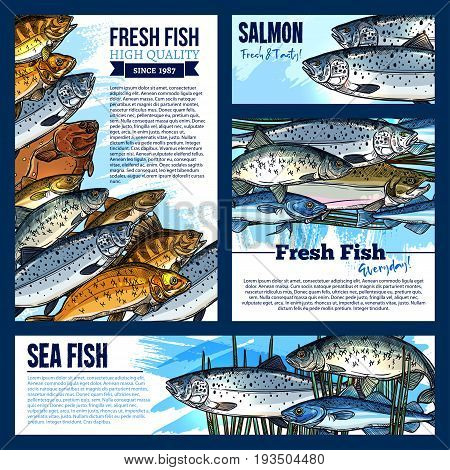 Fresh fish posters and banners set for fish food and seafood market. Vector template design of sea fishing big catch of pike, tuna or flounder and mackerel or marlin, salmon, carp or crucian and bream