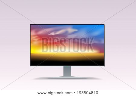 illustration of lcd flat screen with sunset image on it on bright background