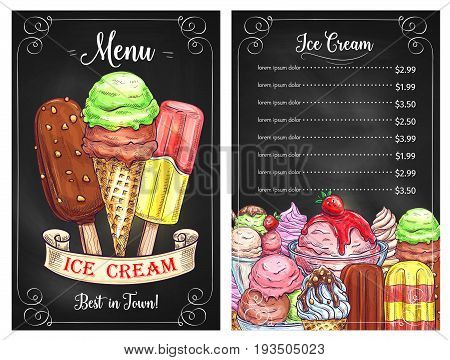 Ice cream cafe or restaurant price menu template. Vector design of frozen desserts, ice cream scoops in wafer cones, sundae and chocolate glaze eskimo or caramel waffles with berry and fruit topping