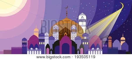 Panorama of silhouette of fabulous Arabian city. Palace at sunset and sunrise