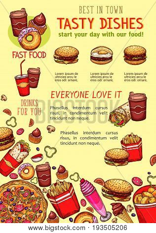 Fast food poster of fastfood sandwiches, meals and snacks or desserts. Vector design template of cheeseburger or hamburger, pizza and chicken nugget or french fries, onion rings and ice cream or donut