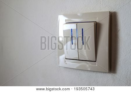 On off light switch on the wall