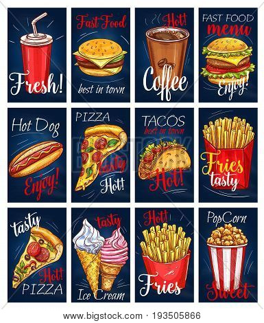 Fast food menu cards or posters for fastfood restaurant. Vector templates of soda, coffee drink, cheeseburger or hamburger, hot dog or pizza and tacos with french fries, ice cream and popcorn dessert