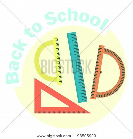 Flat colorful vector rulers icon set. School instruments for measure with scale. Geometry and draftsmanship equipment for education. Cute cartoon study symbol