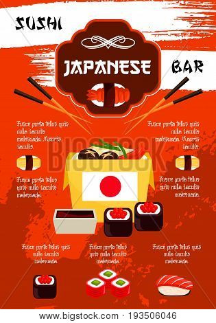 Japanese sushi bar poster template. Vector sushi cuisine rolls, fish maki or salmon sashimi and noodle or miso soup, chopsticks in steamed rice with soy sauce or wasabi for nigiri sushi bento in nori
