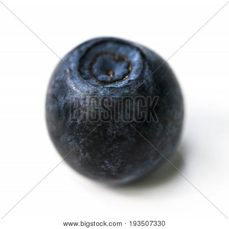 Single Blueberry Berry Isolated On White Background. One Blueberry Berry With Clipping Path