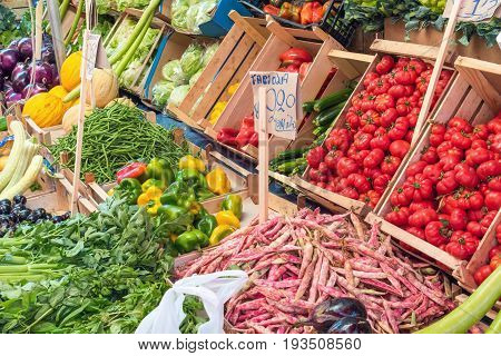 Choice of vegetables for sale at a market in Palermo