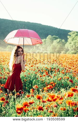 Pretty Happy Girl In Field Of Poppy Seed With Umbrella