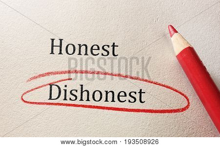 Dishonest circled in red pencil below Honest text