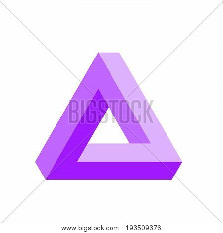 Penrose triangle icon in violet. Geometric 3D object optical illusion. Vector illustration.